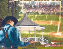 """Nro 1 kilpailuun I need a illustration for a musical production called """" Dear Mr Mayor"""". The gazebo being the main focus and the baseball field in the background with a gruff looking Mayor in the front left. käyttäjältä rickysumendap"""