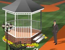 """Nro 26 kilpailuun I need a illustration for a musical production called """" Dear Mr Mayor"""". The gazebo being the main focus and the baseball field in the background with a gruff looking Mayor in the front left. käyttäjältä megatmarzuqi"""