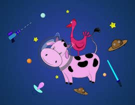 #7 untuk Create a seamless pattern of baby cows floating in space with background items oleh Sandipan01