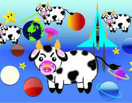 #14 untuk Create a seamless pattern of baby cows floating in space with background items oleh sasireka393
