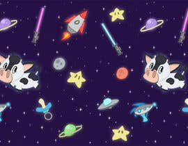 #11 untuk Create a seamless pattern of baby cows floating in space with background items oleh hadarawhite