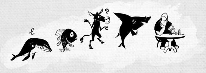 Penyertaan Peraduan #67 untuk Illustration for T-Shirt: Evolution of a Poker Player (From Whale to Shark to Poker Player Using a Different Animals)