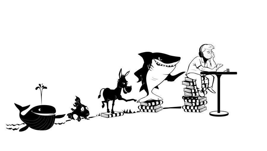Penyertaan Peraduan #115 untuk Illustration for T-Shirt: Evolution of a Poker Player (From Whale to Shark to Poker Player Using a Different Animals)