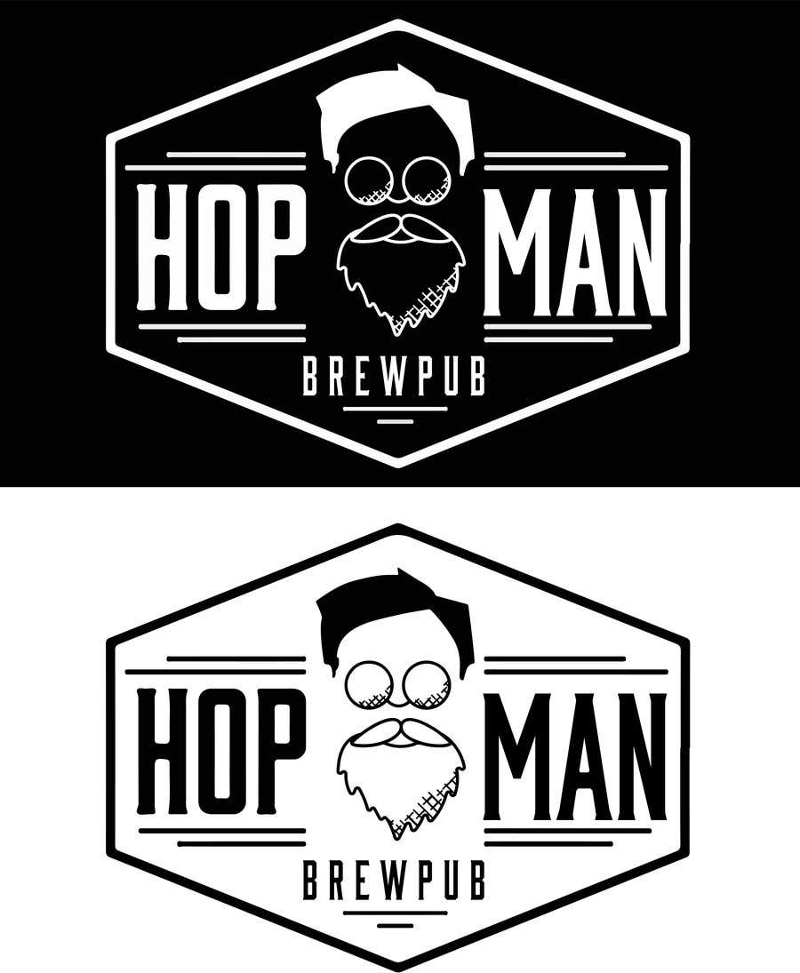 Kilpailutyö #16 kilpailussa As you can see, we have a logo, but we need to change the slogan of it and some words. Instead of Hop Doc  - we want it to be Hop Man. And slogan should be Brewpub. If we will like your style - we will work a lot in the future!