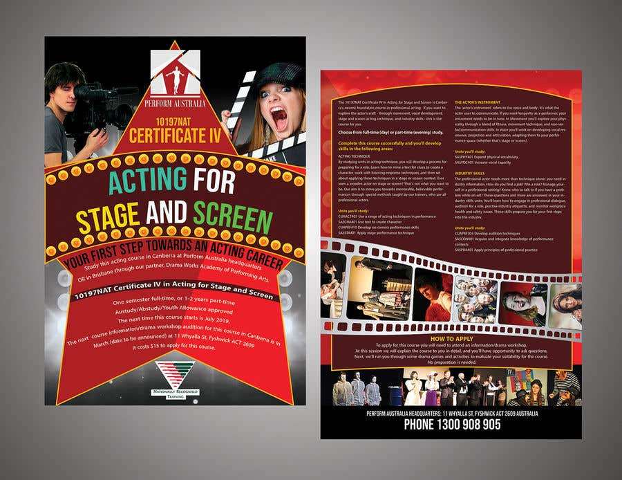 Contest Entry #74 for A4 brochure for performing arts school