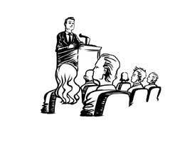 #28 для Design a line drawing image of a presenter at a podium with audience in front of them. от D3baser