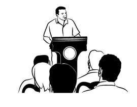 #29 для Design a line drawing image of a presenter at a podium with audience in front of them. от khaldiyahya