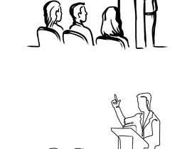 #12 для Design a line drawing image of a presenter at a podium with audience in front of them. от jasongcorre