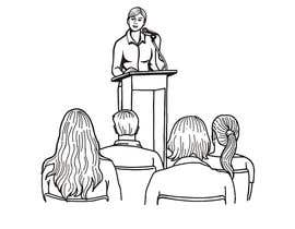 #18 для Design a line drawing image of a presenter at a podium with audience in front of them. от rli5903e7bdaf196