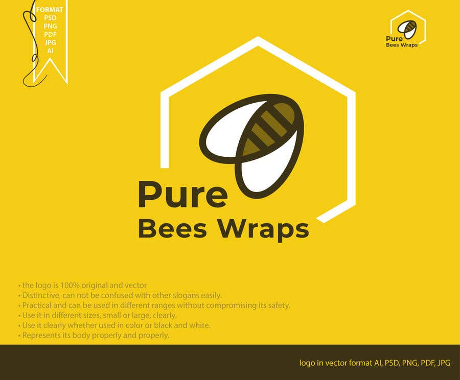 """Contest Entry #58 for Design """"Pure Bees Wraps"""" Logo and Box Design"""