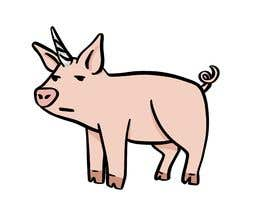 #64 for Illustration of a Pig Unicorn. (Pig with Horn) af NellTheArtist