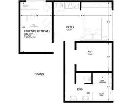 #31 for Redesign floor plan of parents retreat including bathroom, study and walk in wardrobe af ArqOrozco