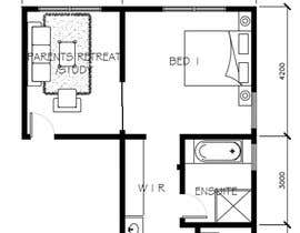#47 for Redesign floor plan of parents retreat including bathroom, study and walk in wardrobe af toramannnnn
