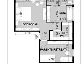 #18 for Redesign floor plan of parents retreat including bathroom, study and walk in wardrobe af juliaarchi30