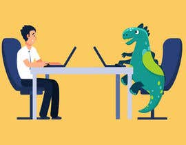 #89 cho Need an illustration of a man working at a desk with a dinosaur bởi saurov2012urov