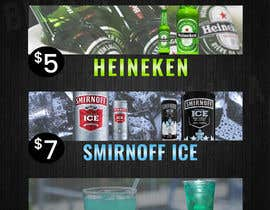 "bilalahmed0296 tarafından Please design a similar drink specials poster as I attached below with Heineken - $5. Smirnoff black & Ice - $7. And the blue drink ""Blue La'Gan"" - $10. Needed ASAP as event is in 3 hours. Feel free to ask any questions printouts will be A4 paper size. için no 3"