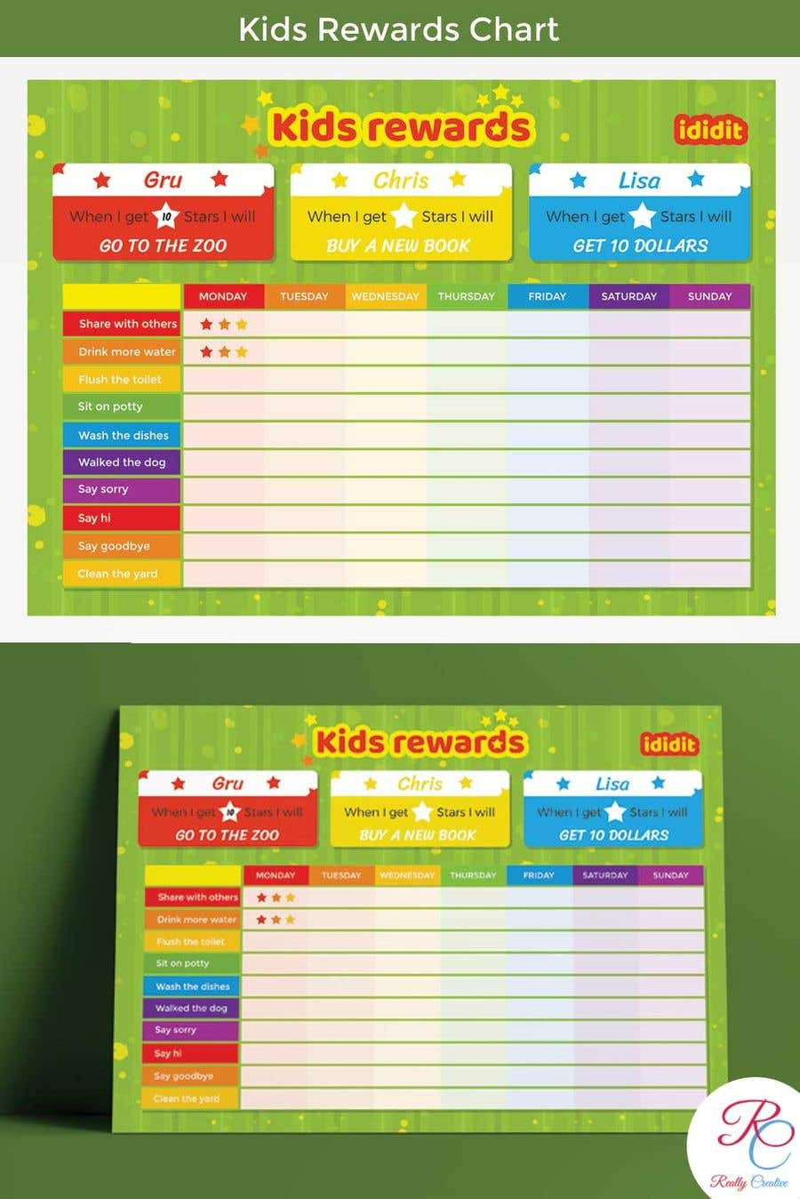 Contest Entry #23 for Design a kids reward chart in a3 size
