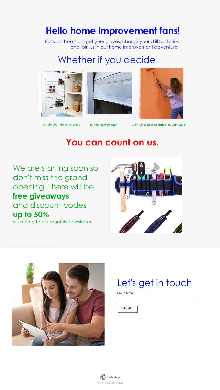 Contest Entry #10 for Landing page text (Collecting emails for newsletter) for blog about home improvement