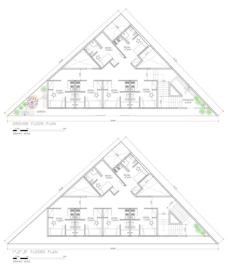Konkurrenceindlæg #53 for Floor Plan needed for a student residence