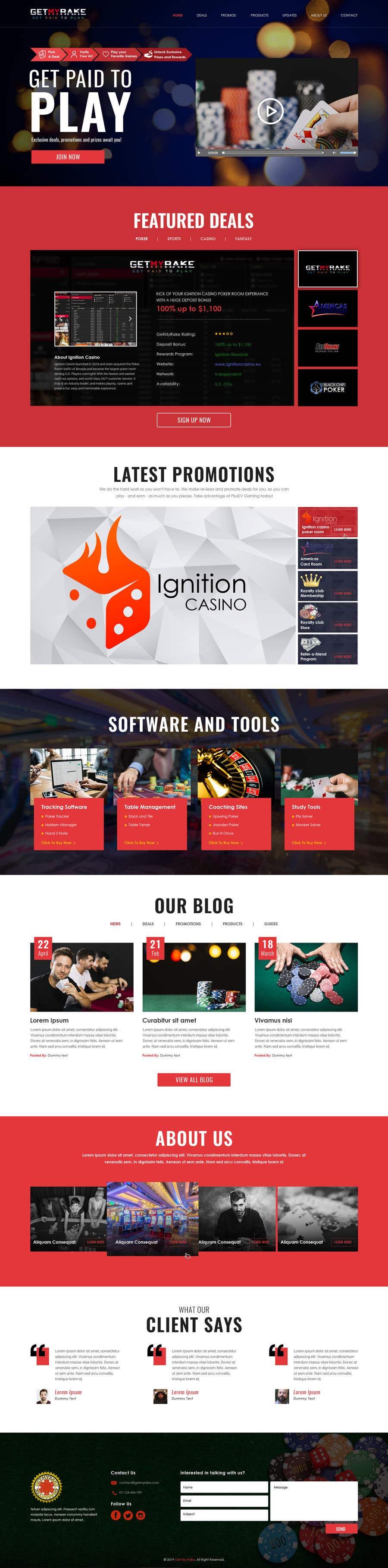 Konkurrenceindlæg #14 for Single Page Website Design Concept Wireframe