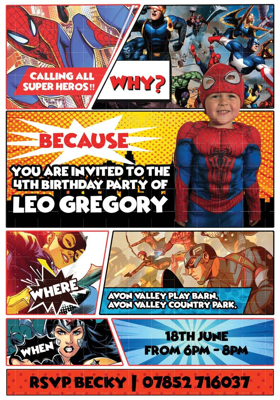 Proposition n°67 du concours Create a superhero theme birthday invite