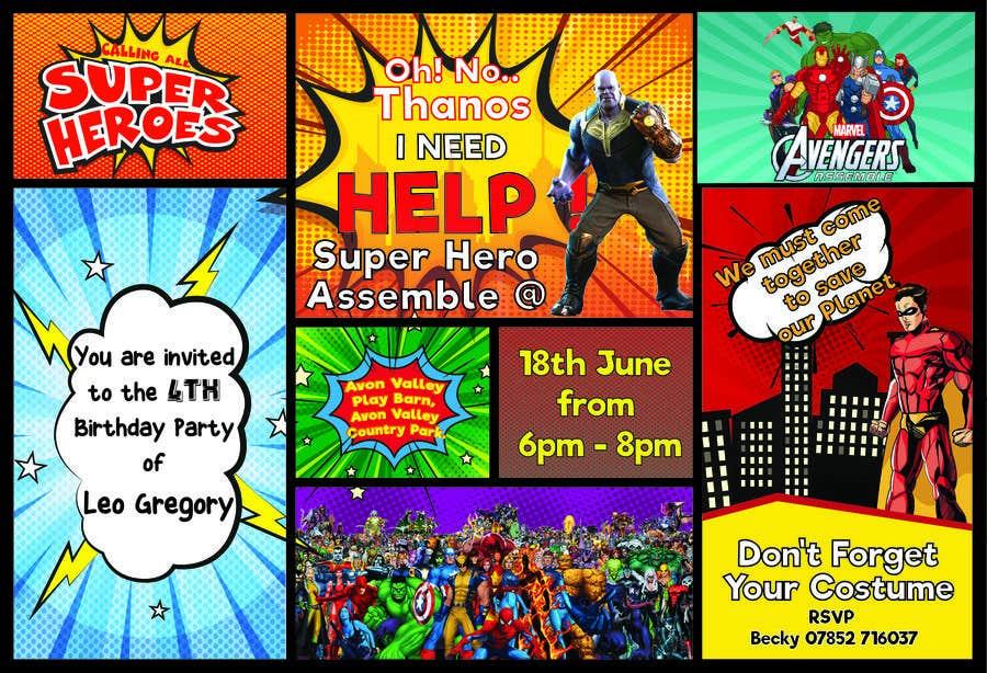 Proposition n°77 du concours Create a superhero theme birthday invite