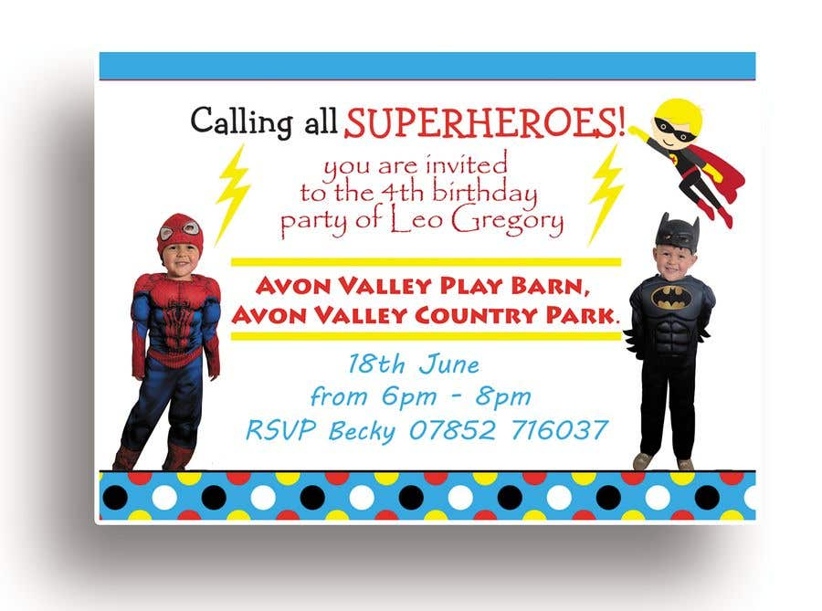 Proposition n°8 du concours Create a superhero theme birthday invite