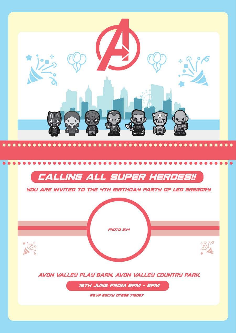Proposition n°34 du concours Create a superhero theme birthday invite