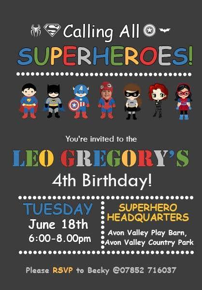 Proposition n°9 du concours Create a superhero theme birthday invite