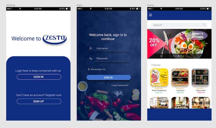 Contest Entry #44 for Build a mobile UI for online food ordering app