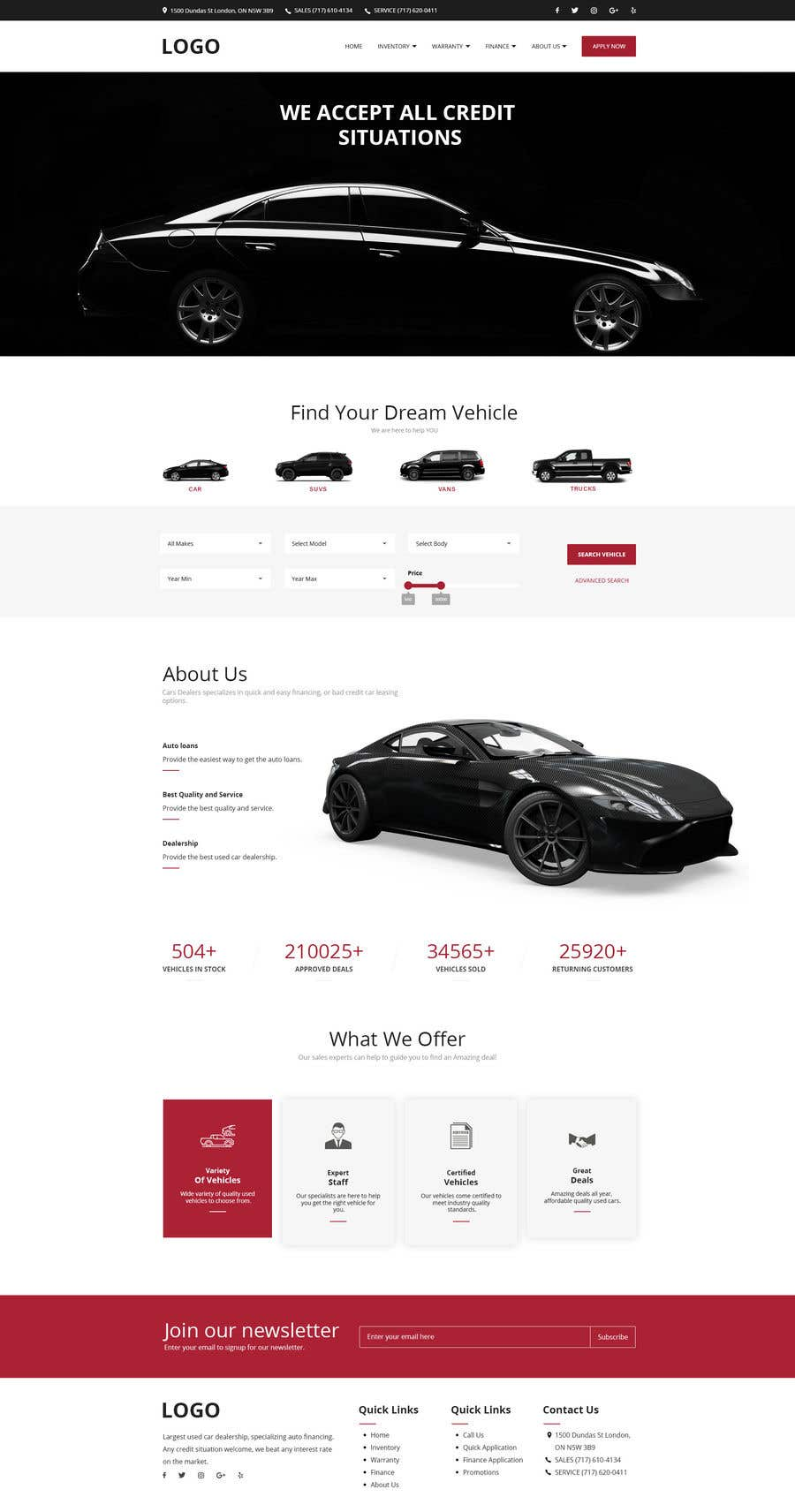 Contest Entry #37 for Design a landing page in PSD for a car dealer's website.