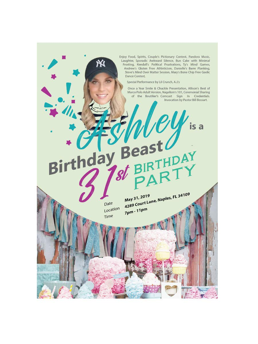 Konkurrenceindlæg #37 for Ashley is a Birthday Beast 31st Birthday Party Flyer