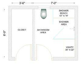 #30 para Design a bathroom Layout/ rendering por ssquaredesign