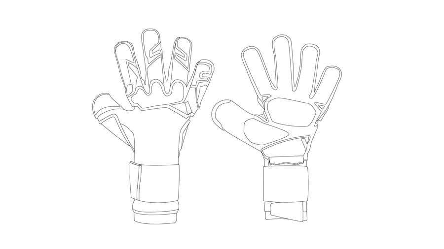Kilpailutyö #9 kilpailussa I need the photos of the black goalkeeper gloves turned into a detailed vector without the 'T' and 'Titan' logos.