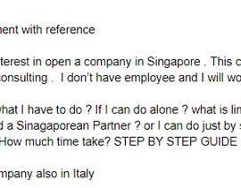 #9 for I'm looking for a accountant, web searcher or tax law expert for create for me a little document about open company in Singapore by rladrillo