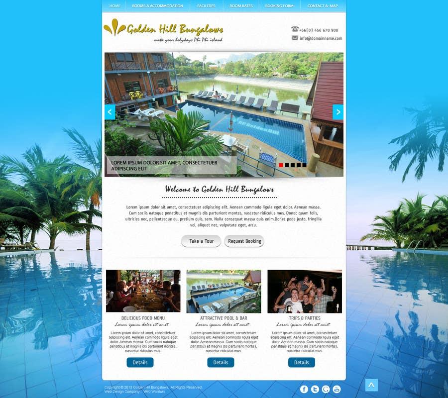 Inscrição nº                                         3                                      do Concurso para                                         Website Design for Golden Hill Bungalows Hotel