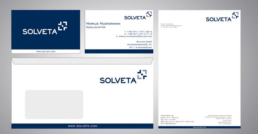 Contest Entry #                                        45                                      for                                         Letterhead, Envelopes, Business Cards and more for Solveta