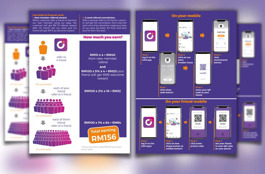 Bài tham dự cuộc thi #3 cho 2 pages A5 size Referral Program Flyer