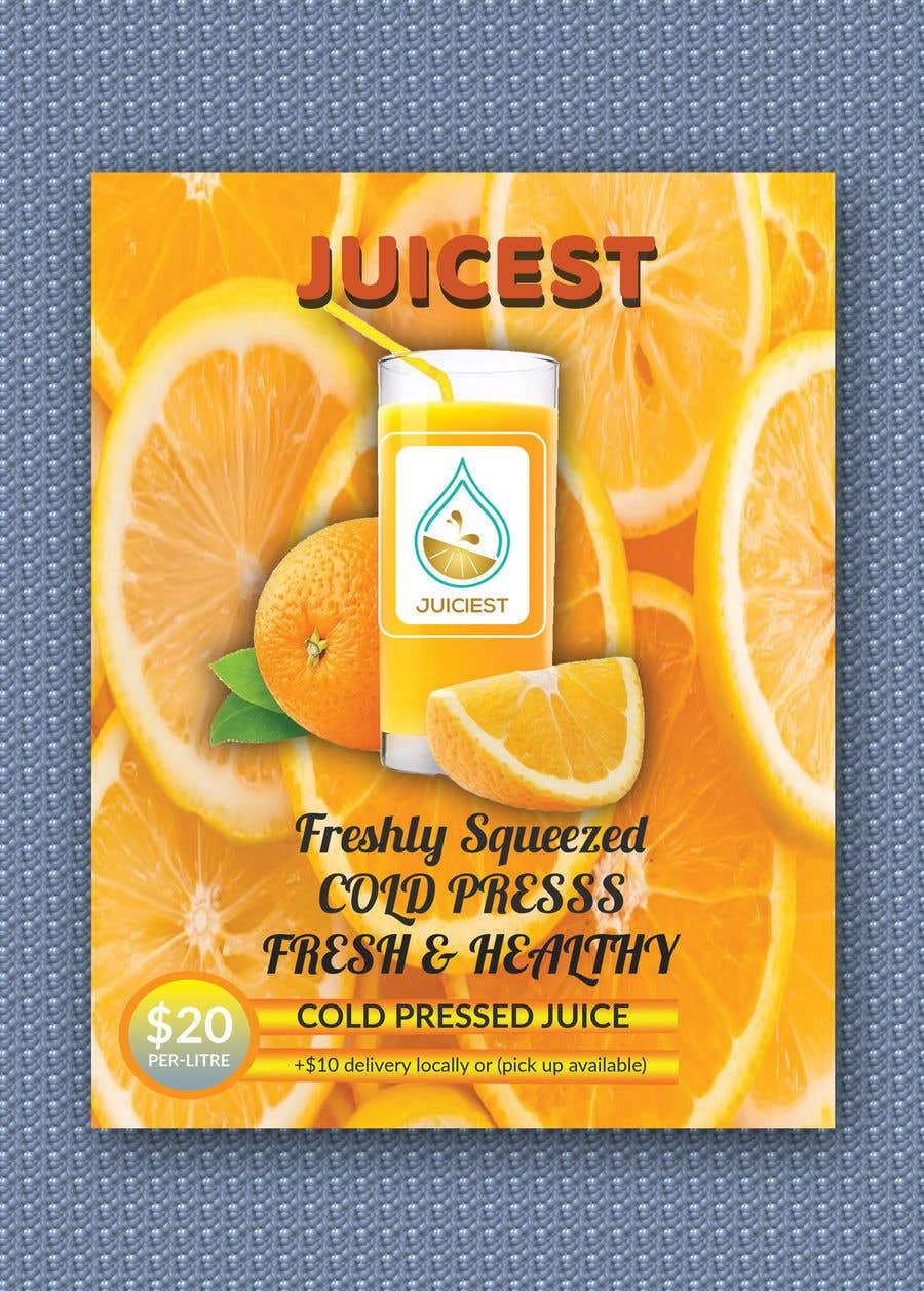 Inscrição nº 20 do Concurso para Clean fresh and bright looking flyer created for cold pressed juices. With a loyalty card buy 10 get the 11th juice free