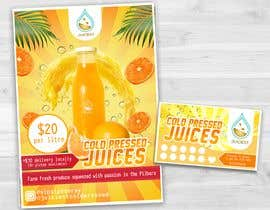 #18 untuk Clean fresh and bright looking flyer created for cold pressed juices. With a loyalty card buy 10 get the 11th juice free oleh jeanalecs