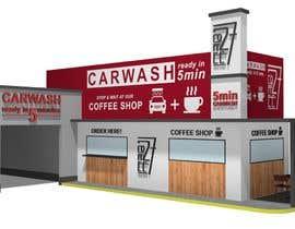 nº 32 pour Exterior design of a coffee kiosk combined with car wash par chenkus