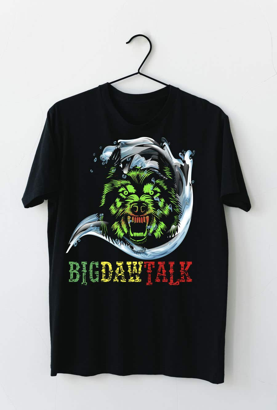 Конкурсная заявка №32 для I need a colorful clean graphic of a dog face similar to the attached for T-shirt. Underneath graphic should read BigDawgTalk