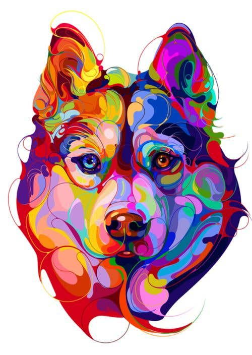 Конкурсная заявка №1 для I need a colorful clean graphic of a dog face similar to the attached for T-shirt. Underneath graphic should read BigDawgTalk