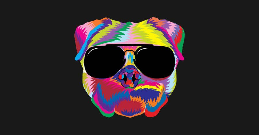 Конкурсная заявка №6 для I need a colorful clean graphic of a dog face similar to the attached for T-shirt. Underneath graphic should read BigDawgTalk