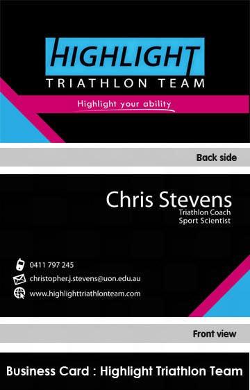 Konkurrenceindlæg #                                        22                                      for                                         Business Card Design for Highlight Triathlon Team