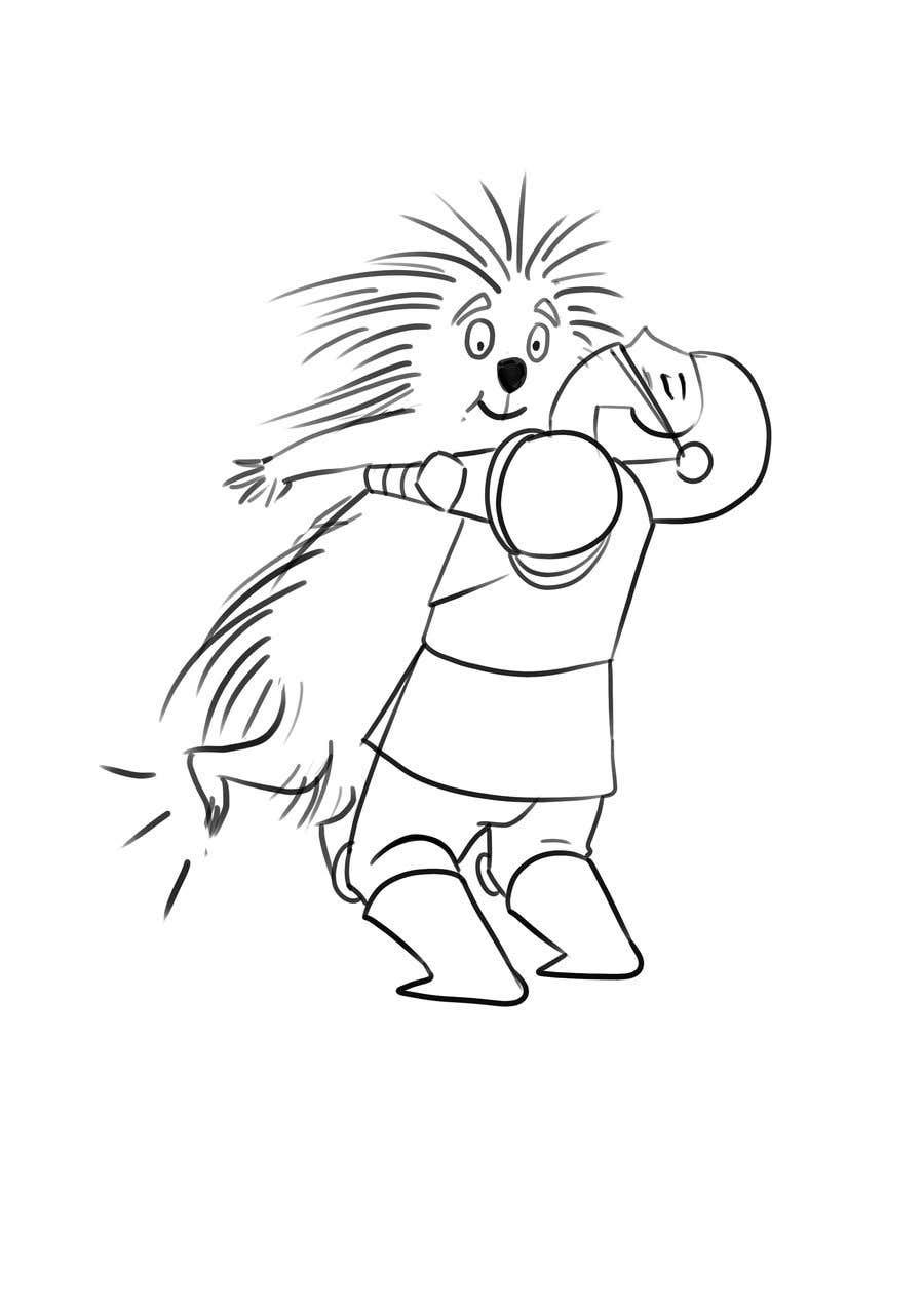 Bài tham dự cuộc thi #72 cho Creative art of someone wearing battle armor hugging a porcupine. Artwork Illustration