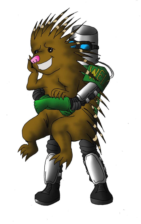 Bài tham dự cuộc thi #63 cho Creative art of someone wearing battle armor hugging a porcupine. Artwork Illustration