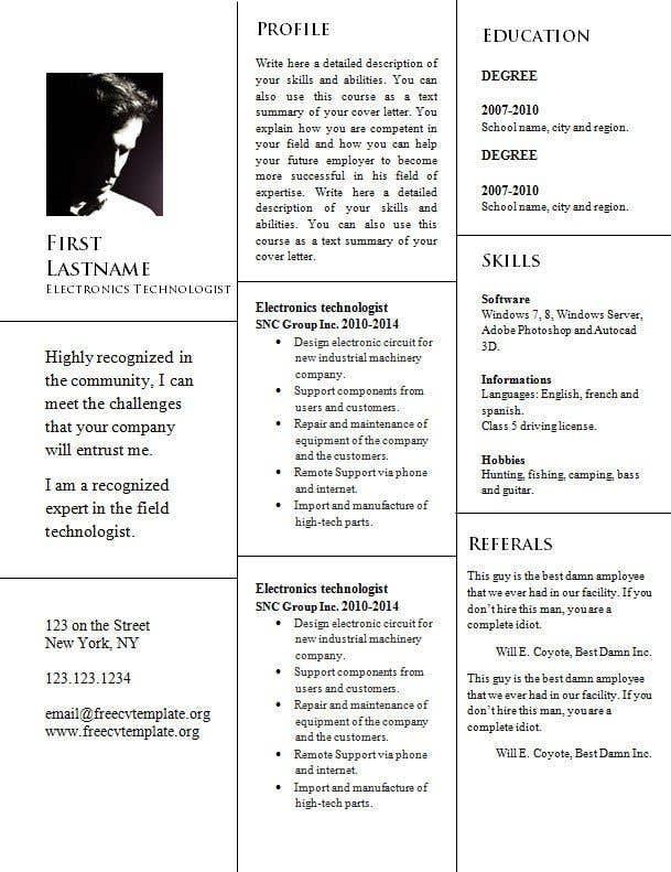 Penyertaan Peraduan #25 untuk design resume (simple)