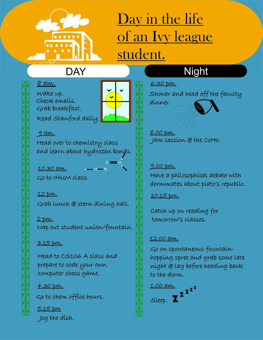 """Inscrição nº                                         3                                      do Concurso para                                         Seeking beautiful infographic on """"Day in the life of an Ivy League student"""""""
