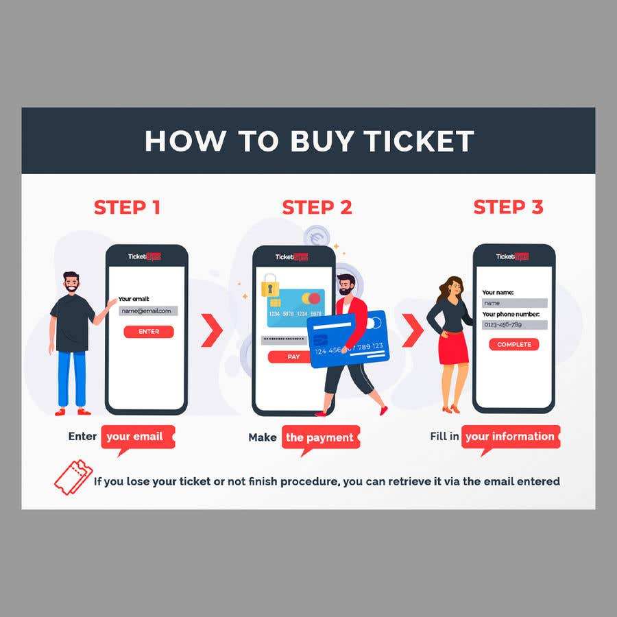 Contest Entry #112 for Create Illustration about method for buy a ticket